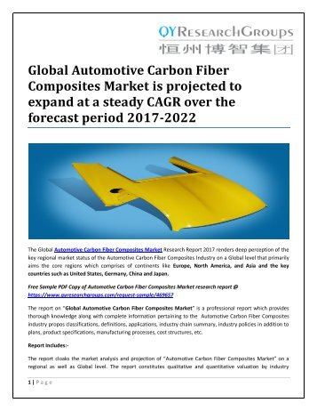 Global Automotive Carbon Fiber Composites Market is projected to expand at a steady CAGR over the forecast period 2017-2022