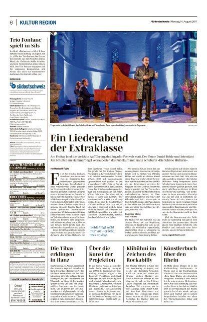 Ein Liederabend der Extraklasse, Südostschweiz, 14.08.2017, Marina U. Fuchs