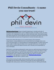 Phil Devin Consultants - A name you can trust!