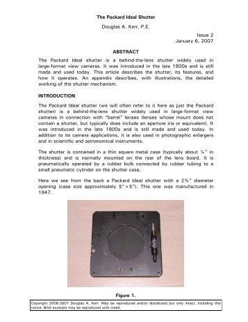 The Packard Ideal Shutter Douglas A. Kerr, P.E. Issue 2 January 6 ...