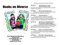 Books on Divorce - Center Moriches Free Public Library