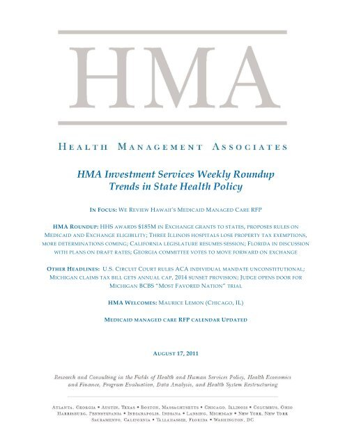 HMA Investment Services Weekly Roundup Trends in State Health