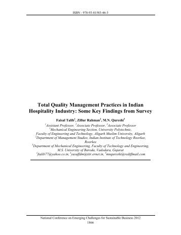 Total Quality Management Practices in Indian Hospitality Industry ...
