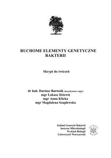 RUCHOME ELEMENTY GENETYCZNE BAKTERII Skrypt do ...