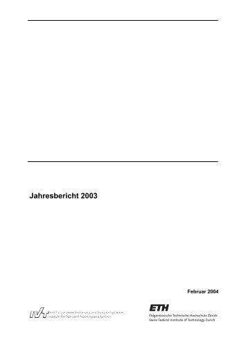 Jahresbericht 2003 - IVT - ETH Zürich
