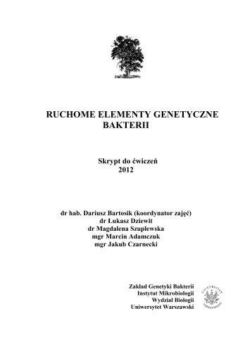 ruchome elementy genetyczne bakterii - ZGB - Uniwersytet ...