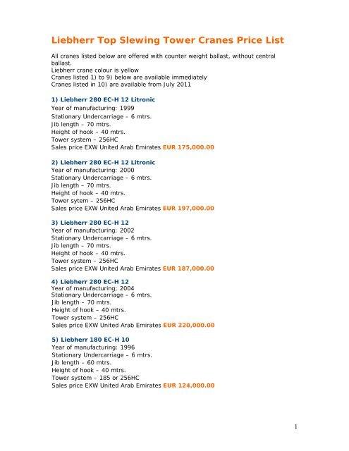 Liebherr Top Slewing Tower Cranes Price List