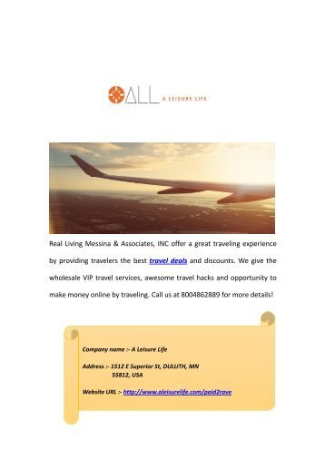 Get More Travel Deals and Discounts at A Leisure Life