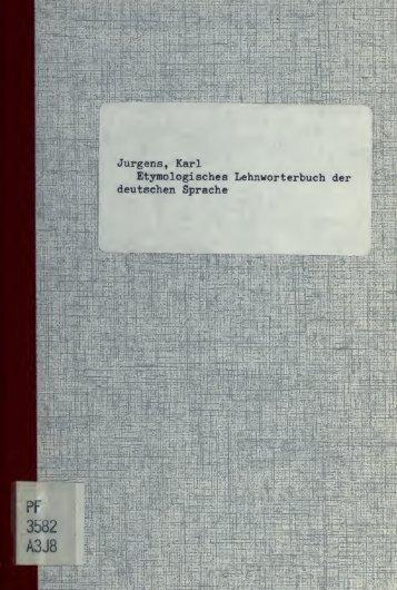 Etymologisches Lehnwörterbuch der deutschen Sprache - Index of