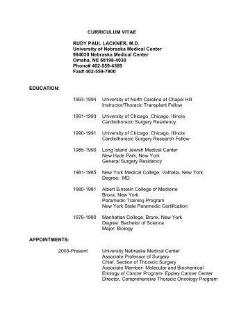 CURRICULUM VITAE NILS AKE NYSTROM, M.D., Ph.D ... - UNMC