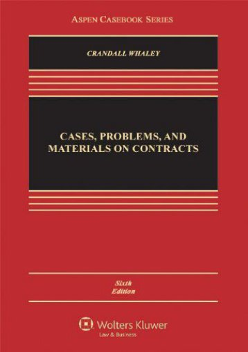 Full Download Cases, Problems, and Materials on Contracts (Aspen Casebook Series) -  Best book - By Crandall