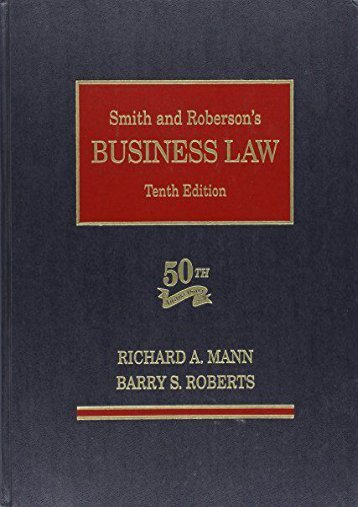 Unlimited Ebook Smith and Roberson Business Law -  [FREE] Registrer - By Roberts