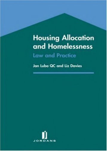 Read PDF Housing Allocation and Homelessness: Law and Practice -  Unlimed acces book - By Jan Luba