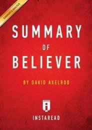 Best PDF Summary of Believer: by David Axelrod | Includes Analysis -  [FREE] Registrer - By Instaread Summaries