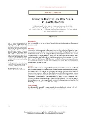 Efficacy and Safety of Low-Dose Aspirin in Polycythemia Vera