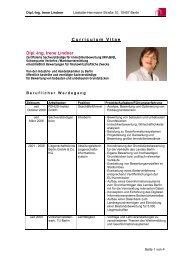 Curriculum Vitae Dipl.-Ing. Irene Lindner - Fenus-Institut
