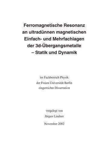 Ferromagnetische Resonanz an ultradünnen magnetischen Einfach ...