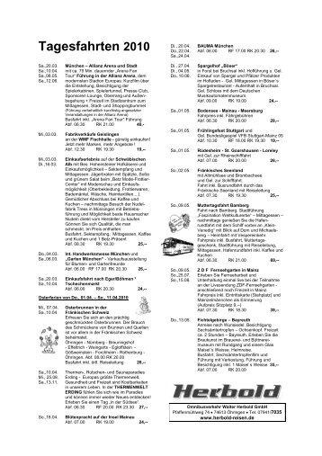 Tagesfahrten 2010 - Walter Herbold GmbH