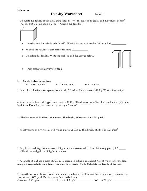 U1 Properties And Density Worksheet