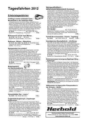 Tagesfahrten 2012 - Walter Herbold GmbH