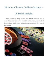 How to Choose Online Casinos - A Brief Insight