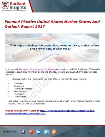 Foamed Plastics United States Market Status And Outlook Report 2017