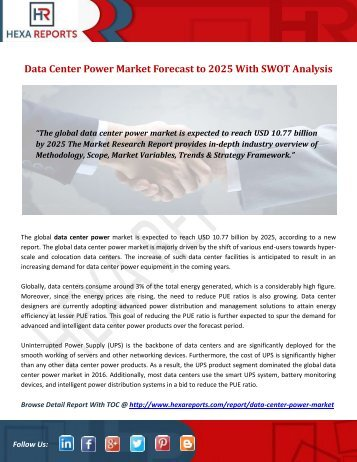 Data Center Power Market Forecast to 2025 With SWOT Analysis