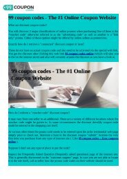 99 Coupon Codes - The #1 Online Coupon Website