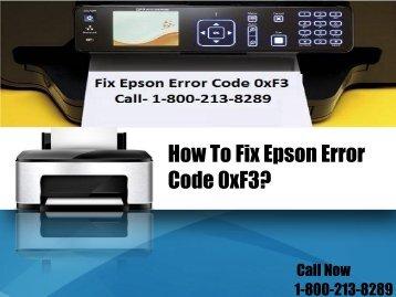 How To Fix Epson Error Code 0xF3