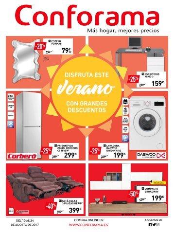 Folleto Conforama verano con grandes descuentos hasta 24 de Agosto 2017