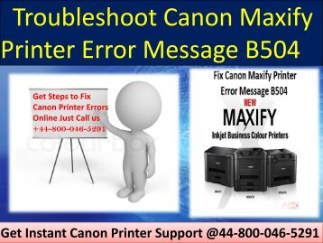 Canon Maxify Printer Error Message B504 Call 448000465291