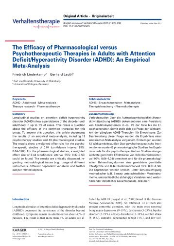 The Efficacy of Pharmacological versus Psychotherapeutic - Karger