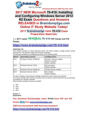 70-417 Exam Dumps With Pdf And Vce