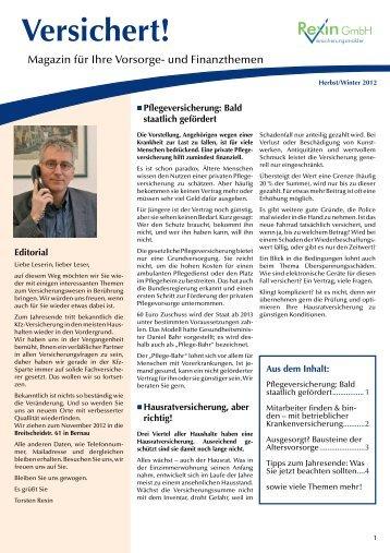 Magazin Versichert - Rexin Versicherungsmakler GmbH