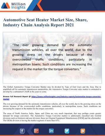 Automotive Seat Heater Market Size, Share, Industry Chain Analysis Report 2021