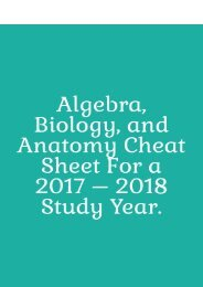 Algebra, Biology, and Anatomy Cheat Sheet for a 2017 – 2018 Study Year