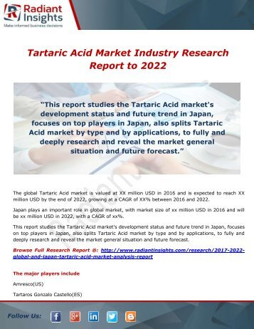 Tartaric Acid Market Forecast, Analysis and Application to 2022 by Radiant Insights,Inc