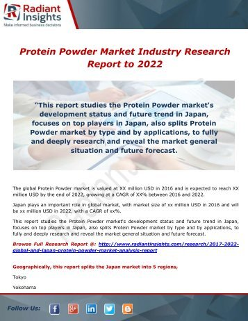 Protein Powder Market – Market Size,Share to 2022 by Radiant Insights,Inc