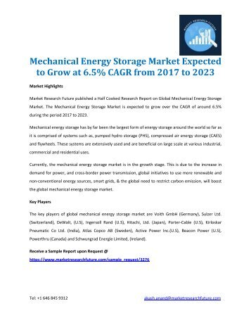 Mechanical Energy Storage Market Expected to Grow at 6.5