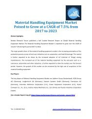 Material Handling Equipment Market Poised to Grow at a CAGR of 7.5% from 2017 to 2023