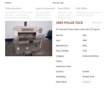 Buy Used 1983 POLAR 72CE Machine