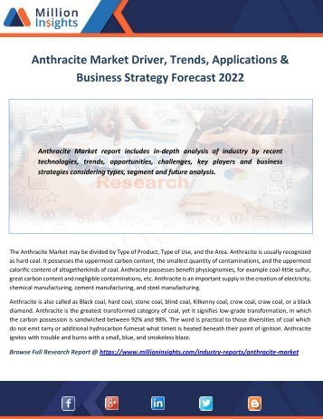 Anthracite Market Driver, Trends, Applications & Business Strategy Forecast 2022