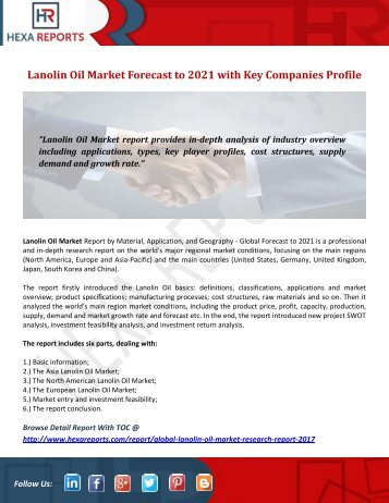 Lanolin Oil Market Forecast to 2021 with Key Companies Profile