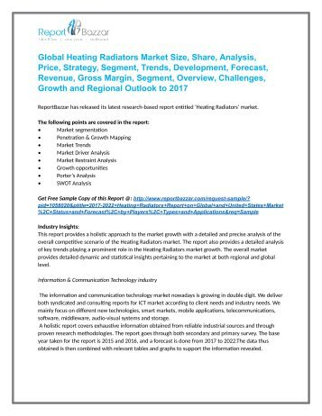 Heating Radiators Market  Analysis- Size, Share, overview, scope, Revenue, Gross Margin, Segment and Forecast 2017