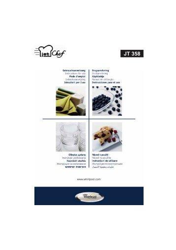 KitchenAid JT 358 alu - JT 358 alu SK (858735899640) Istruzioni per l'Uso