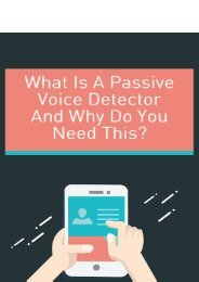 What Is a Passive Voice Detector And Why Do You Need This?
