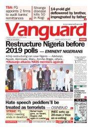 18082017 - Restrucrure Nigeria before 2019 polls - EMINENT NIGERIANS