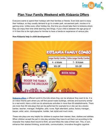 Plan Your Family Weekend with Kidzania Offers