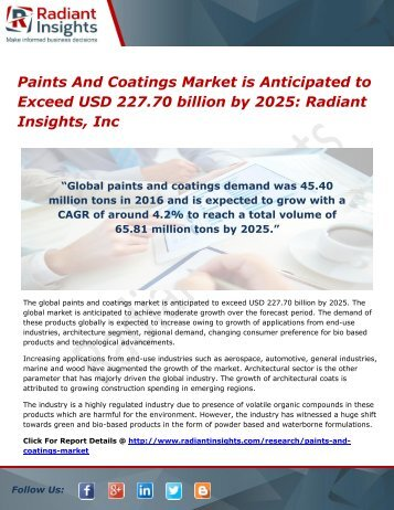 Paints And Coatings Market is Anticipated to Exceed USD 227.70 billion by 2025 Radiant Insights, Inc