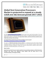 Global Next Generation Processors Market is projected to expand at a steady CAGR over the forecast period 2017-2022